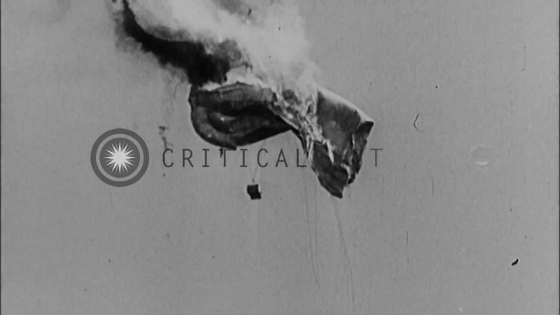 An Allied air balloon being strafed by German forces in France during World War I...HD Stock Footage