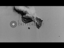 An Allied air balloon being strafed by German forces in France during World War Stock Footage