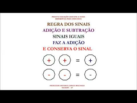 Regra Sinal Adição e Subtração Matemática