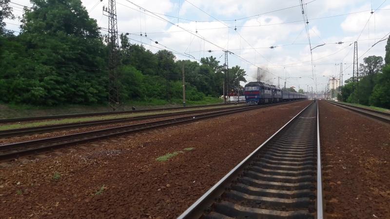 Теп70 0166 Теп70 0146 привітна бригада подвійна тяга з потягом №45 Ужгород Лисичанськ Парк Н