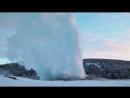 Пар с гейзера Старый Служака при 20°С десублимация в Йеллоустонском Национальном парке США 01 03 2018