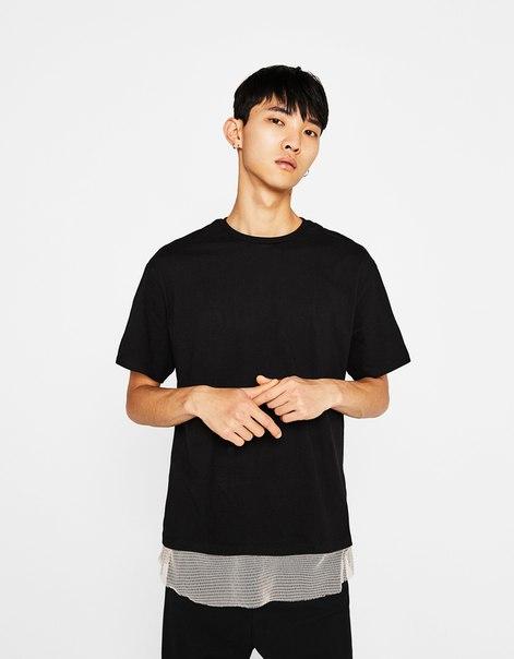 Комбинированная футболка с сетчатыми вставками