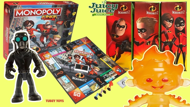 Incredibles 2 Movie Toys Play Monopoly JR Screenslaver Hypnotizes Juice Box Baby Jack-Jack Explodes