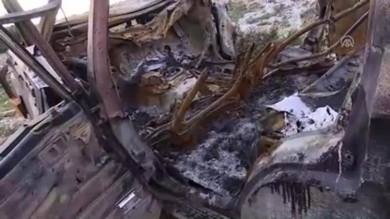 Mehmetçik, teröristlerin ÖSOya bağlı güçlerin bulunduğu mevziye bombalı araçla yapmaya çalıştığı intihar saldırısını tank atışıy