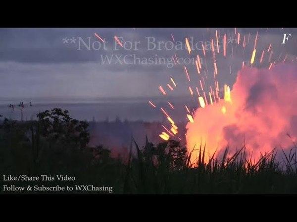 Мощные взрывы при извержении трещины номер 18 вулкана Килауэа (Гавайи, 13.05.2018)