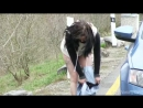 Love wetting - She almost made it, but the toilet was locked!