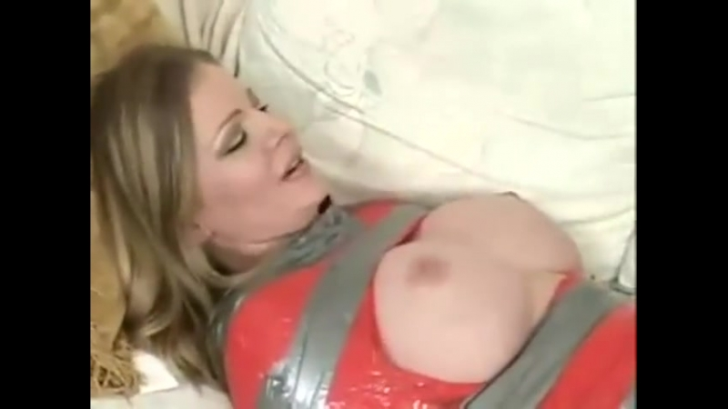 Blonde bitch wrapped in tape, gagged and tickled