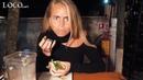 Janni Deler eating Loco Tulum fish tacos