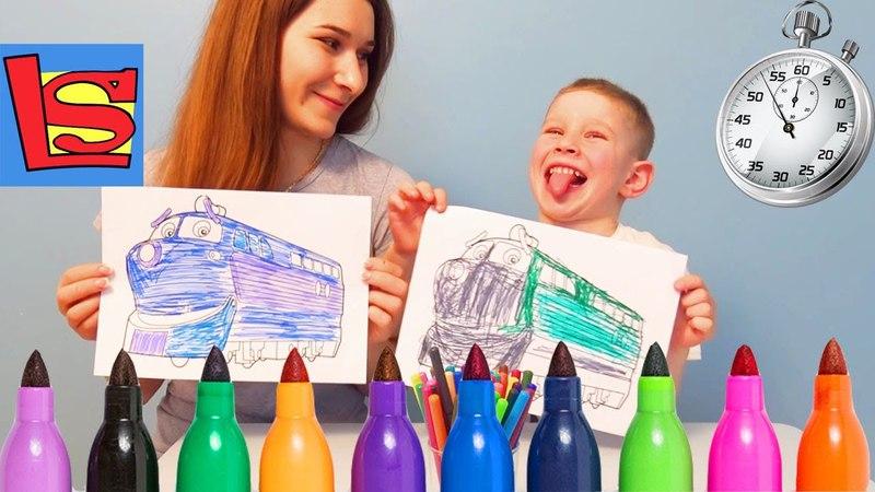 ЧЕЛЛЕНДЖ 3 МАРКЕРА новые правила раскрашиваем на скорость 3 MARKER CHALLENGE видео для детей
