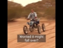 Quad bike can lean 55 degrees to drift around corners