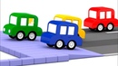 4 coches coloreados Carrera de bolas Dibujos animados