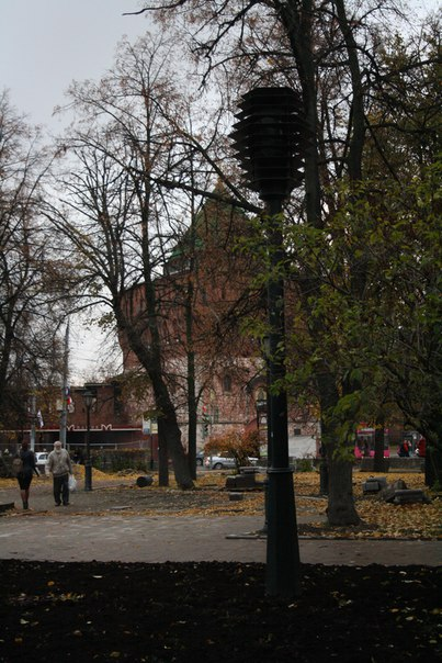 Дмитровская башня сквозь деревья
