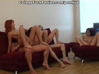 Crazy group orgy with horny students