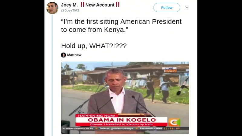"""""""I'm the first sitting American President to come from Kenya."""" Hold up, WHAT?!"""