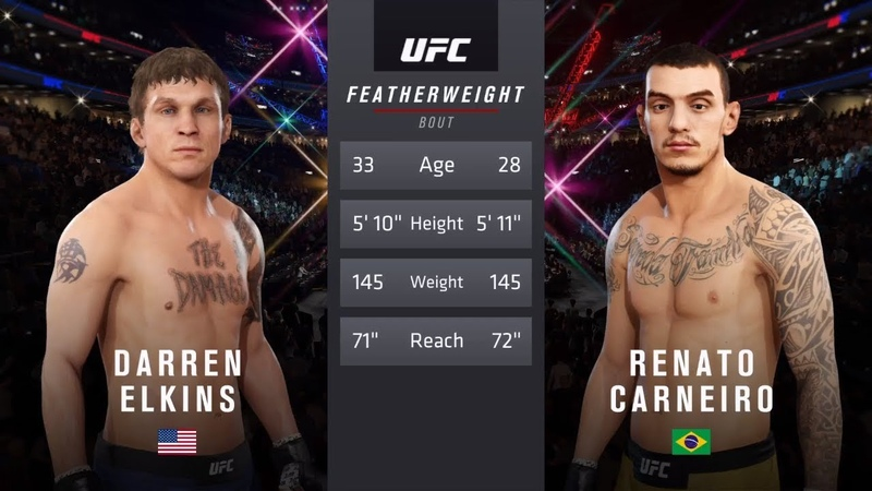 DARREN ELKINS vs. RENATO CARNEIRO EA SPORTS UFC 3 CPU vs. CPU GAME PS4