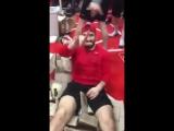 Раздевалка сборной России по хоккею после победы в финале Олимпиады 2018