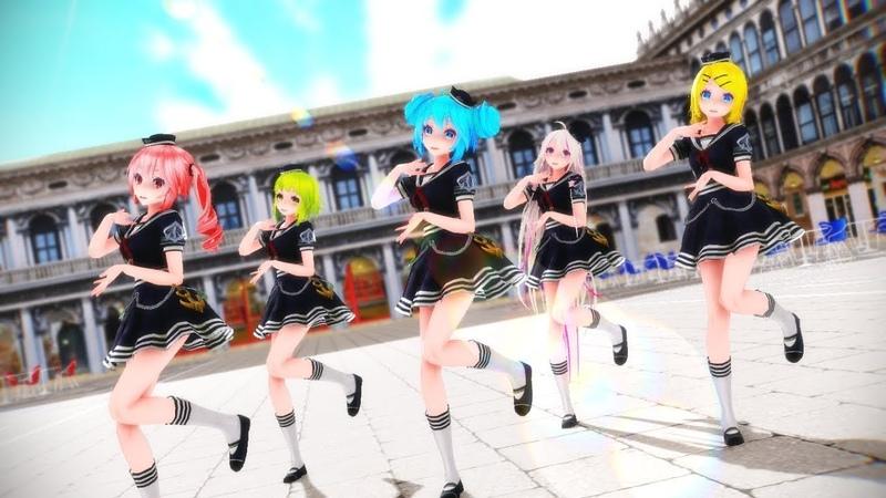 【MMD】Glass Bead || 유리구슬 _ TDA Marine Sailor Miku, Gumi, Teto, IA, Rin 【Model DL】