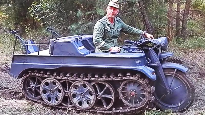 Полугусеничный мотоцикл SdKfz 2 (NSU Kettenkrad HK 101), 1940-1949 год.