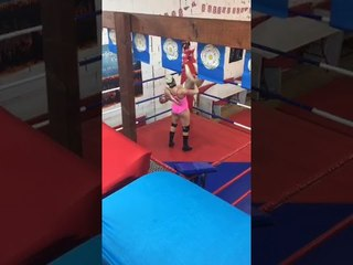 Bikini girl wrestling in the ring female fighter