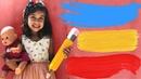 Эмилюша с Куклой Беби Бон КАК МАМА на даче УЧИМ ЦВЕТА learn colors with Baby Born doll