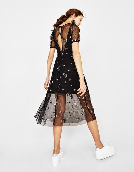 Платье из тюля с цветочной вышивкой