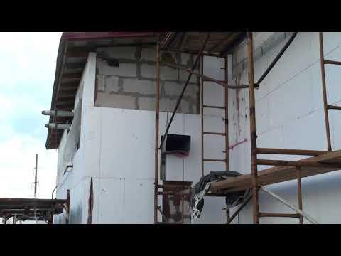 Нарушения технологии приклейки пенопласта на газобетонный дом, стыки и швы между листами
