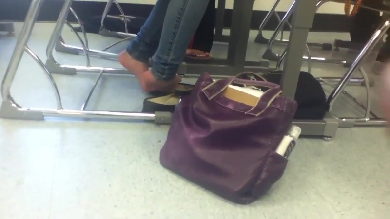 Candid Sheer Nylon Feet Shoeplay at school in Flats