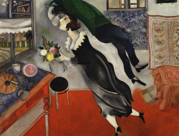 марк шагал день рождения, 1915 год сам марк шагал рассказывал, что набросок картины был им сделан по наитию, в считанные минуты. когда жена, решив порадовать, принесла ему цветы, вдохновение