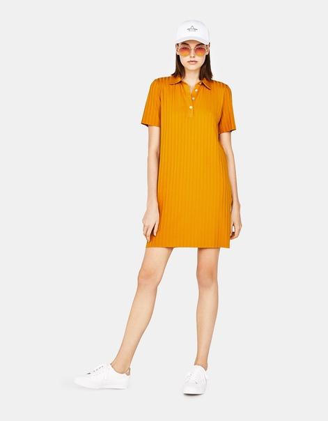 Платье из ткани в рубчик, в стиле поло