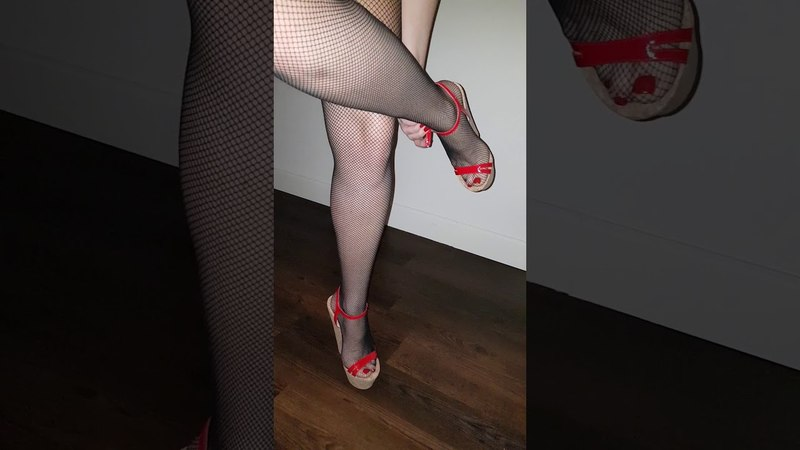 Wedge heels changing into Louboutins