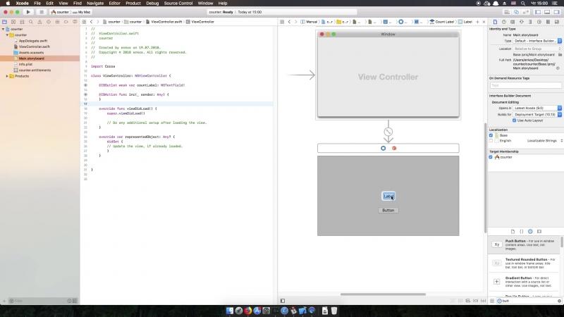 OSX DEV Пишем простой счетчик 002