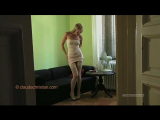 Sophie moone in pink tube dress stockings and high heels