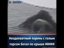 Неадекватный парень бегает по крышке мифи