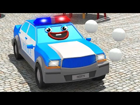 Blue Police Car and Racing Car on the PLAYGROUND - NEW 3D Kids Cartoon Compilation