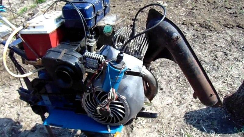 Мотоблок на базе Нева с двигателем от муравья