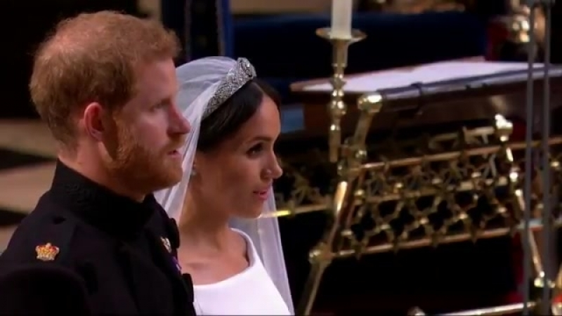 The congregation stands as the Bride and Groom return to the Quire, and the National Anthe.mp4