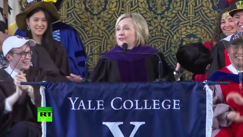 'If you can't beat them, join them': Clinton pulls out Russian hat during Yale speech