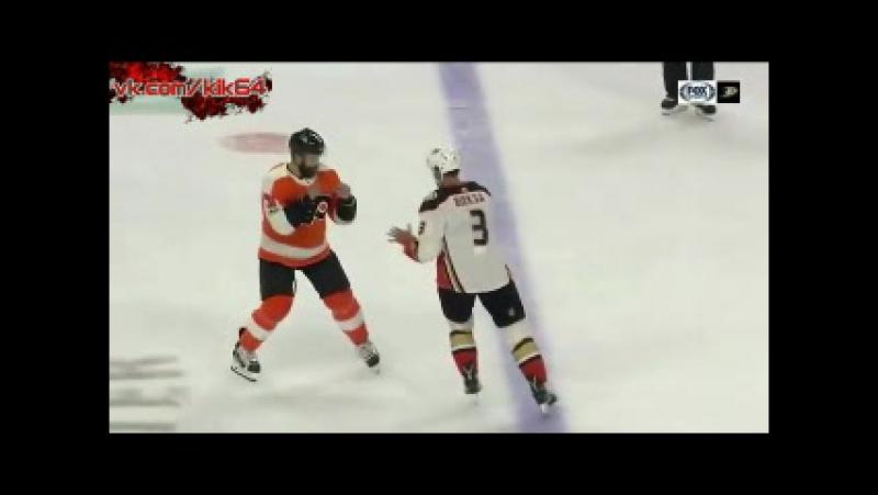 Kevin Bieksa Superman Punch KO vs Radko Gudas - Ducks At Flyers - 10.24