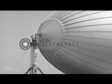 Land and mast operations of an airship at an airbase in United States. HD Stock Footage