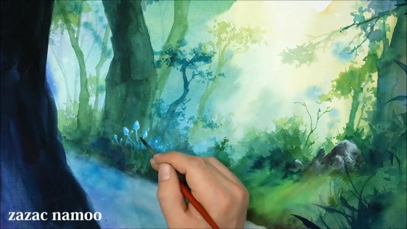 토토로 ,지브리,수채화 일러스트,Totoro watercolor illustration