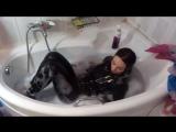 Bath Wetlook in leathers  Elizabeth PiedGirl.com
