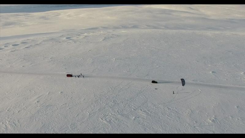 Сноукайтинг в Мурманске съемка с квадрокоптера