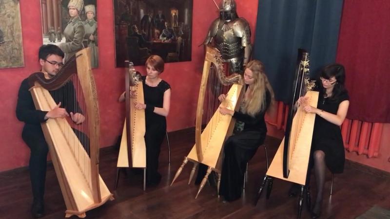ТЕОРИЯ СТРУН Greensleeves for 4 lever harps online video