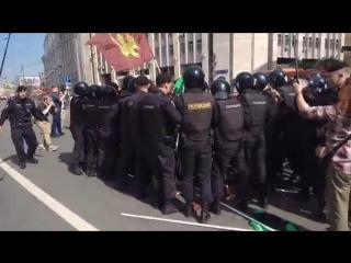 Задержание националистов в конце марша в Защиту Интернета