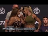 Nicco Montano vs Valentina Shevchenko. UFC 25th Anniversary Press Conference Staredown 2