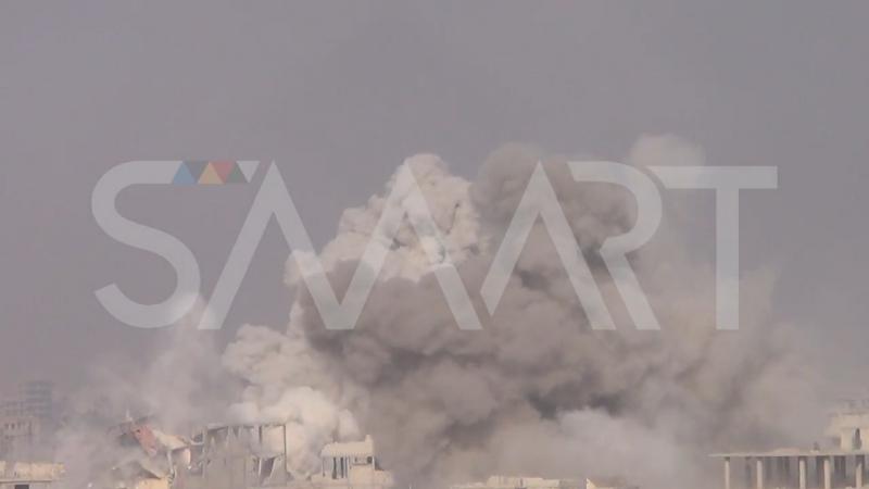Сирия 11.01.18: авиаудар ВВС САР и постановка бармалеев-белокасочников, г. Ирбин, восточная Гута.