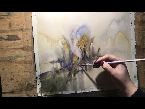 Watercolor lesson, wet on wet technique without drawing: On the way
