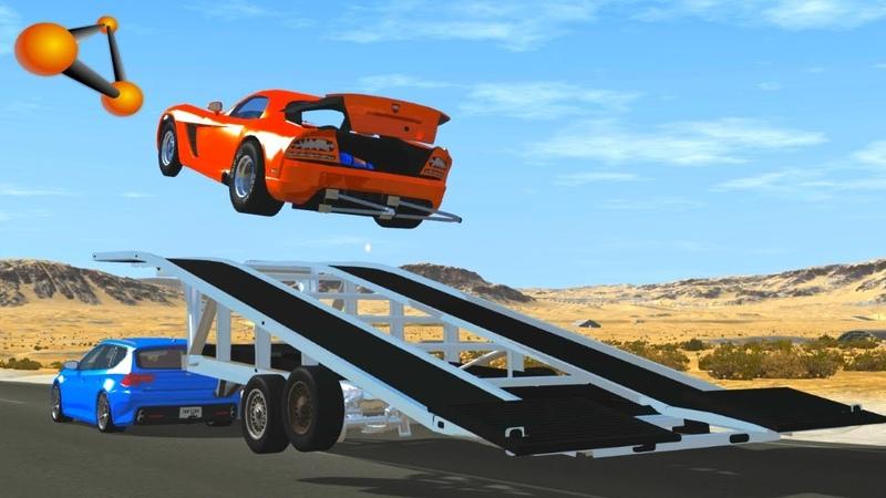 BeamNG.drive - High Speed Ramp Trailer Crashes