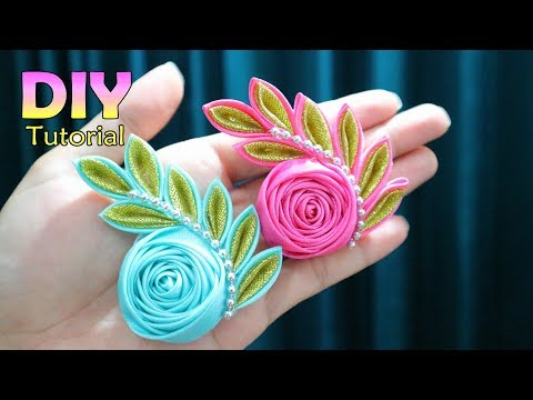 DIY | Tutorial Kanzashi Flower 27 | Satin Ribbon Flower | Cara Membuat Bros Handmade |