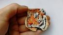 Брошь ручная вышивка Тигрица